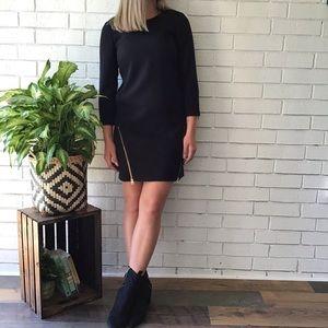 J. Crew | Black Gold Double Zip Shift Mini Dress